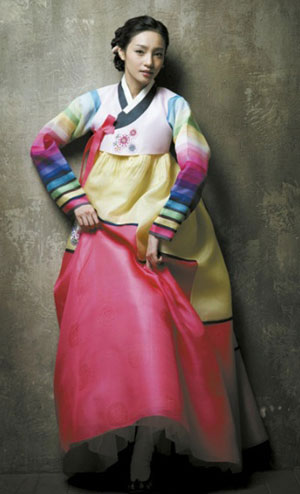 The Korean hanbok is a beautiful and colourful wedding garment.
