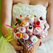 Candy bouquet of marshmallows and candy in cone