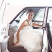 Bride in limo, Blue wedding