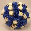 Blue and cream roses