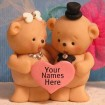 Teddy bears with personalized heart
