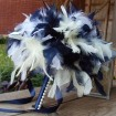 Navy and white feathers