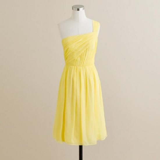 Chiffon a line one shoulder ruched red bridesmaid yellow dress