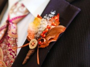 fall boutonniere - leaf