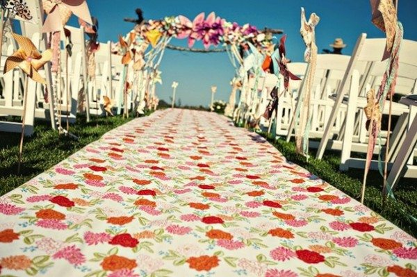 orange and pink aisle runner