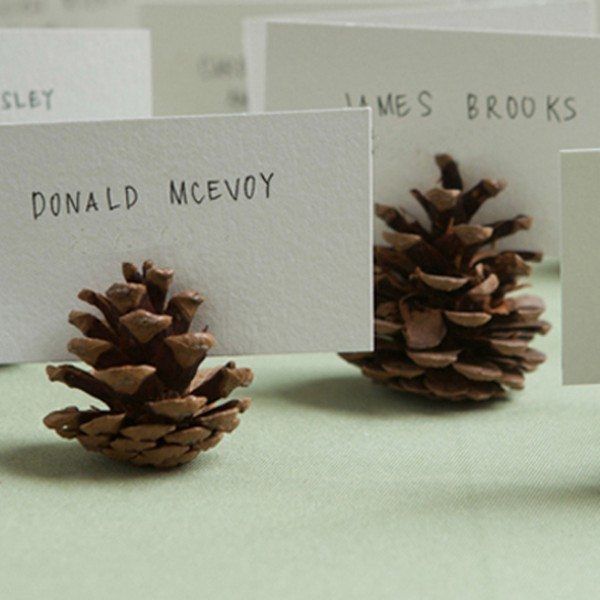Fall Wedding Card Holder Ideas: Pine Cone Place Cards