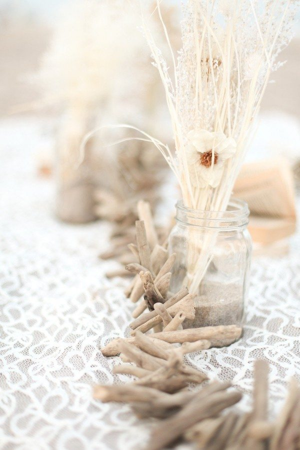 Beach Wedding Ideas: driftwood centrepiece