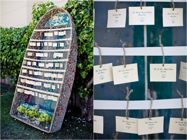 Beach Wedding Ideas: escort card boat