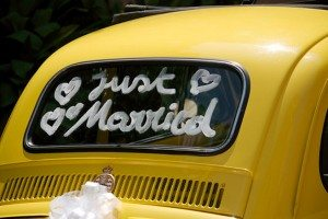 last minute wedding decor - just married sign