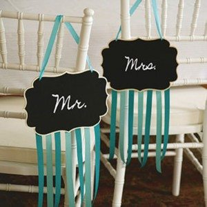 last minute wedding decor - mr and mrs signs