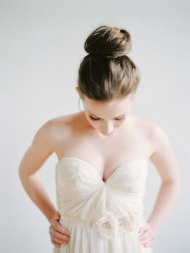 bridal hairstyles - top knot