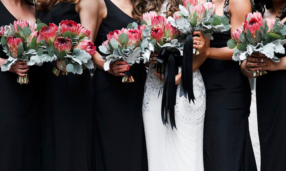 Modern Red Black Wedding - flowers
