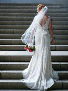 A Romantic Riverside Wedding - lace wedding gown