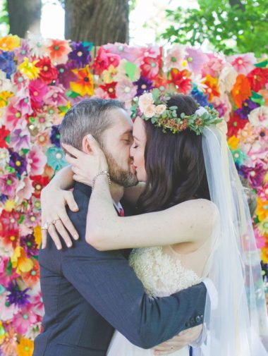 Whimsical Colourful Wedding - first kiss