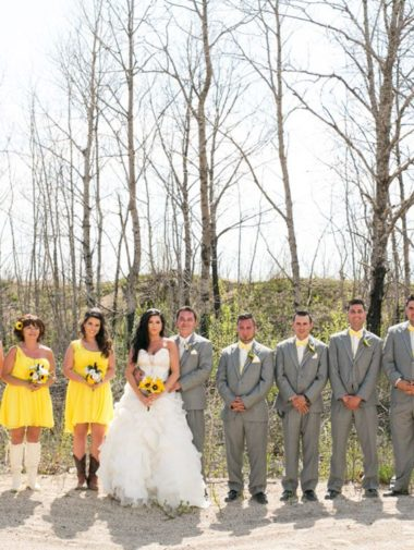 Sunny Country Wedding In Manitoba - yello and grey wedding party