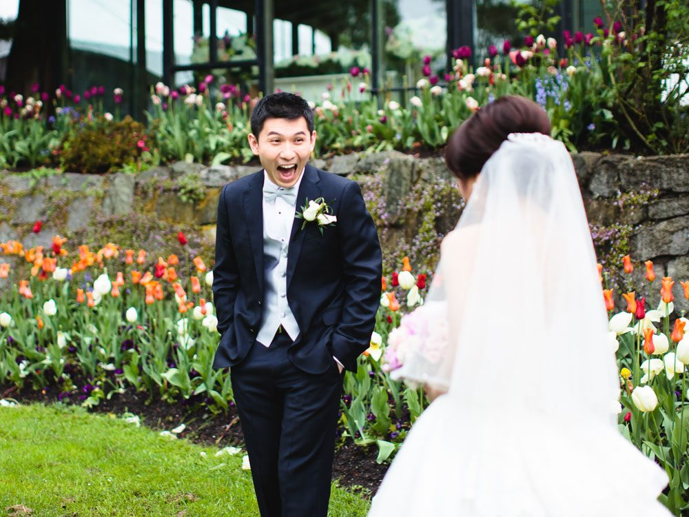Vintage Garden Party Wedding In Vancouver - first look