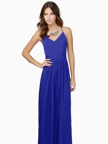 bridesmaid dresses under 100 - blue maxi with open back