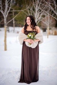 rustic winter shoot with woodsman details - bridesmaid