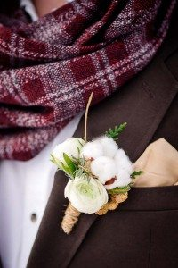 rustic winter shoot with woodsman details - boutonniere