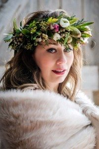 rustic winter shoot with woodsman details - floral headpiece