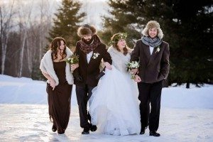 rustic winter shoot with woodsman details - wedding party