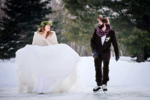 rustic winter shoot with woodsman details - bride and groom