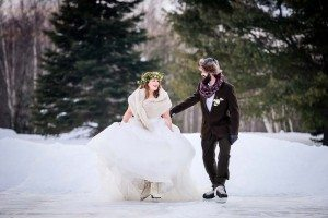 rustic winter shoot with woodsman details - first dance on ice