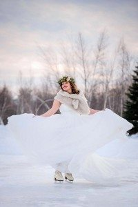 rustic winter shoot with woodsman details - bride