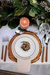 rustic winter shoot with woodsman details - place setting
