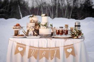 rustic winter shoot with woodsman details - sweets table