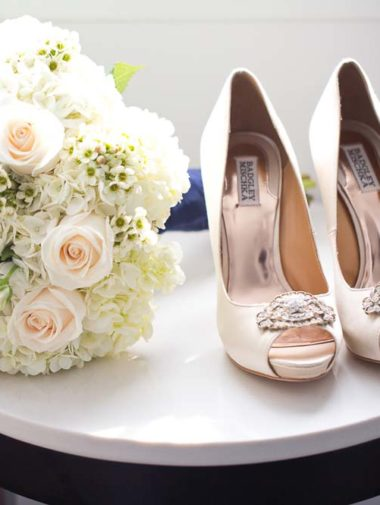 White and Gold Wedding in Halifax - shoes and bouquet