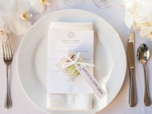 A Stunning Elegant Wedding in Malibu - Place Setting and Macaron Favour