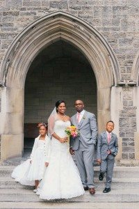 romantic music wedding - bride and groom with flower girl and ring bearer