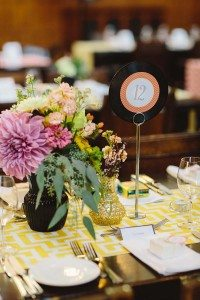 romantic music wedding - record table numbers