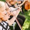 A Glam Backyard Wedding in British Columbia - Violins During Ceremony