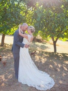 A Lovely Rustic Barn Wedding in British Columbia - Bride and Groom Under Trees