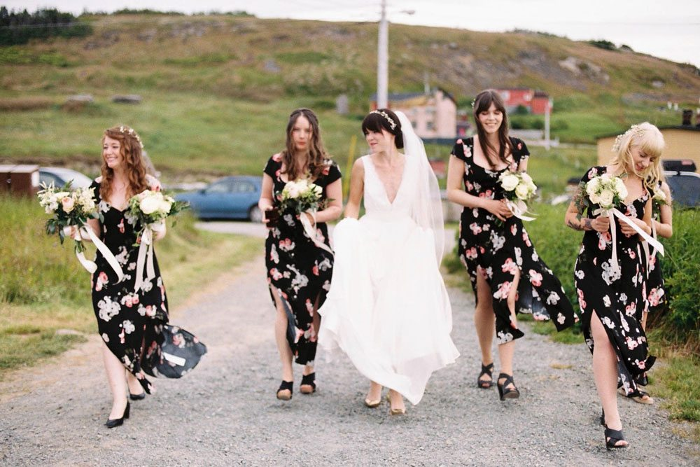 magical wedding in newfoundland - bride and bridesmaids
