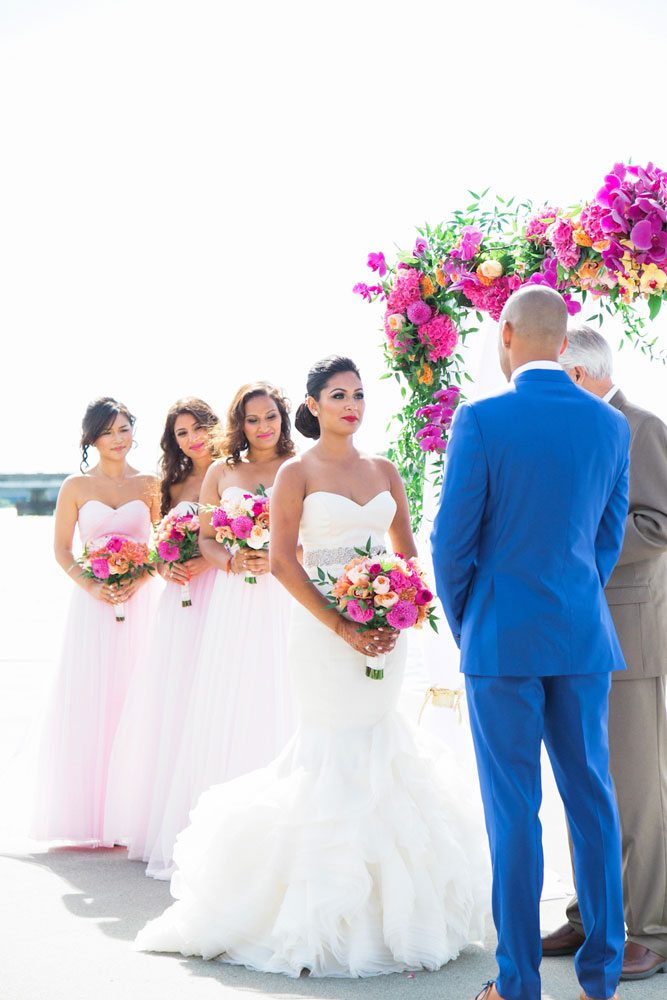 colourful wedding at ubc boathouse - ceremony