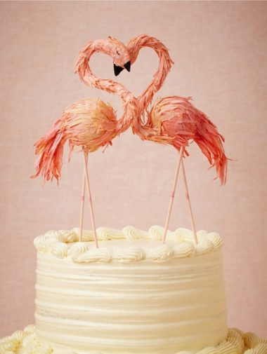 cool wedding cake toppers - flamingos