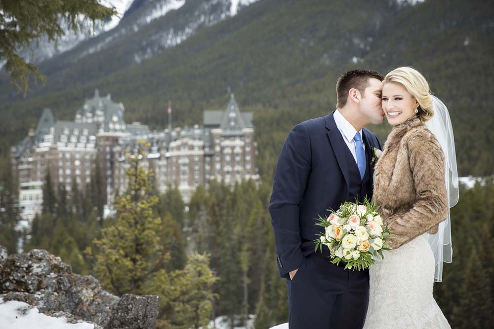 A Soft and Romantic Winter Wedding in Banff - Bride and Groom