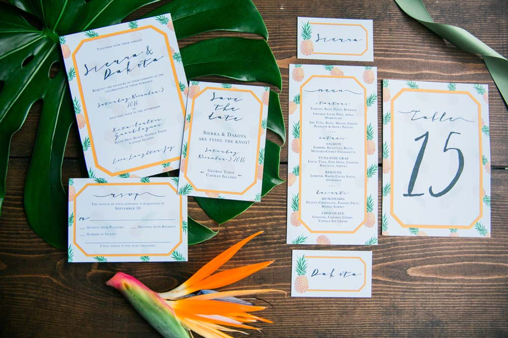 A Tropical Styled Shoot with Green and Gold Details - Wedding Stationery