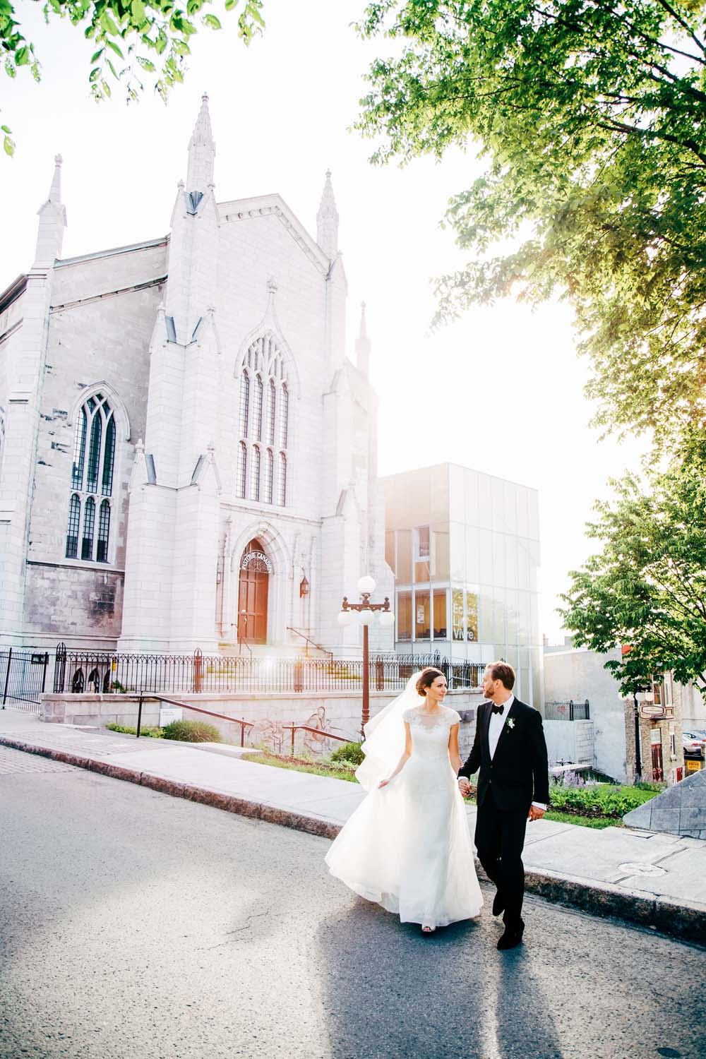 An Elegant White and Gold Wedding in Quebec City - Bride and Groom