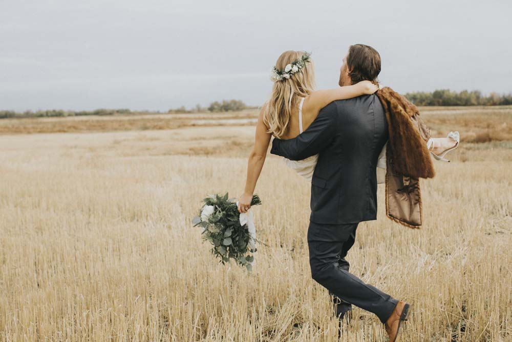 A Boho-Chic Wedding at the University of Saskatchewan - Bride and Groom
