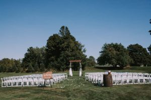 green wedding with gold accents in new brunswick - ceremony venue