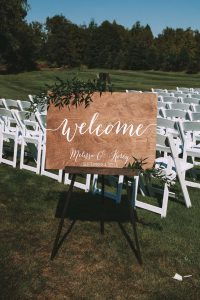 green wedding with gold accents in new brunswick - welcome sign