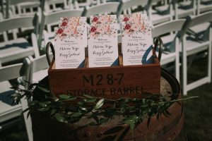green wedding with gold accents in new brunswick - wedding programs