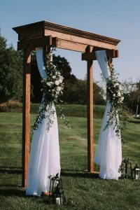 green wedding with gold accents in new brunswick - wedding arbor