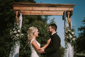 green wedding with gold accents in new brunswick - bride and groom