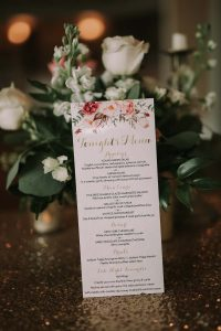 green wedding with gold accents in new brunswick - menu