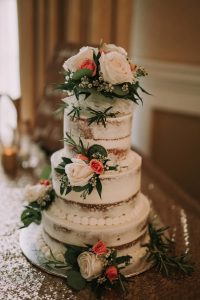 green wedding with gold accents in new brunswick - wedding cake